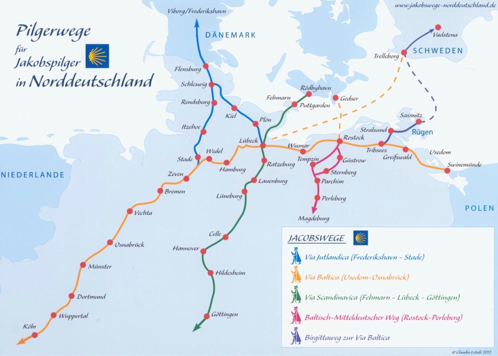 Pilgerwege für Jakobspilger Norddeutschland 2018